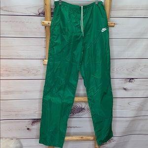 Nike Vintage Green Nylon Track Pants Medium